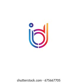 Initial lowercase letter id, linked outline rounded logo, colorful vibrant colors