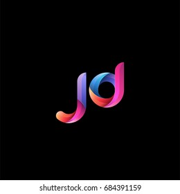 Initial lowercase letter jd, curve rounded logo, gradient vibrant colorful glossy colors on black background