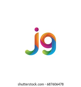Initial lowercase letter jg, curve rounded logo, gradient vibrant colorful glossy multicolor