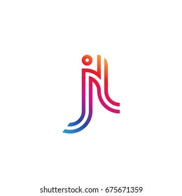 Initial lowercase letter jl, linked outline rounded logo, colorful vibrant colors