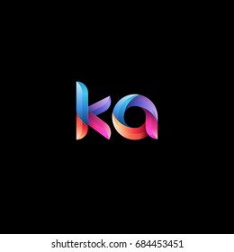 Initial lowercase letter ka, curve rounded logo, gradient vibrant colorful glossy colors on black background