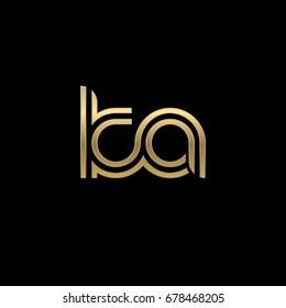 Initial lowercase letter ka, linked outline rounded logo, elegant golden color on black background