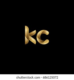 Initial lowercase letter kc, curve rounded logo, gradient glossy gold color on black background