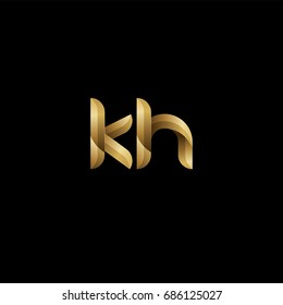 Initial lowercase letter kh, curve rounded logo, gradient glossy gold color on black background