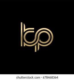 Initial lowercase letter kp, linked outline rounded logo, elegant golden color on black background