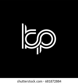 Initial lowercase letter kp, linked outline rounded logo, white color on black background