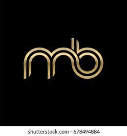 Initial lowercase letter mb, linked outline rounded logo, elegant golden color on black background