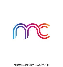 Initial lowercase letter mc, linked outline rounded logo, colorful vibrant colors