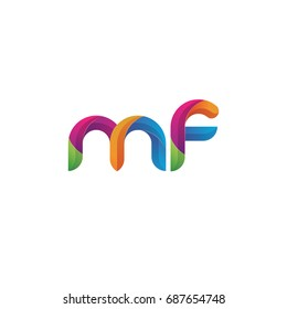 Initial lowercase letter mf, curve rounded logo, gradient vibrant colorful glossy multicolor