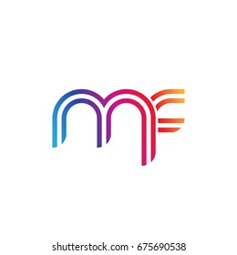Initial lowercase letter mf, linked outline rounded logo, colorful vibrant colors