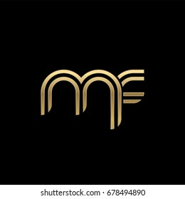Initial lowercase letter mf, linked outline rounded logo, elegant golden color on black background