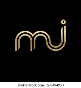 Initial lowercase letter mj, linked outline rounded logo, elegant golden color on black background