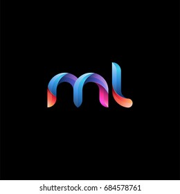 Initial lowercase letter ml, curve rounded logo, gradient vibrant colorful glossy colors on black background
