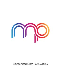 Initial lowercase letter mp, linked outline rounded logo, colorful vibrant colors