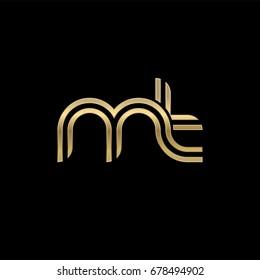 Initial lowercase letter mt, linked outline rounded logo, elegant golden color on black background