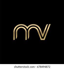Initial lowercase letter mv, linked outline rounded logo, elegant golden color on black background