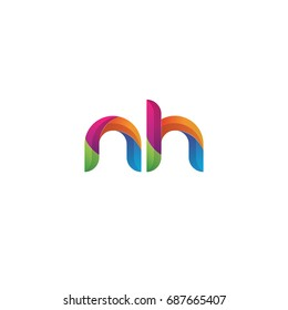 Initial lowercase letter nh, curve rounded logo, gradient vibrant colorful glossy multicolor