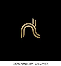 Initial lowercase letter nl, linked outline rounded logo, elegant golden color on black background