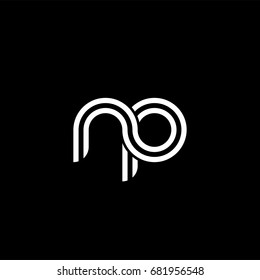 Initial lowercase letter np, linked outline rounded logo, white color on black background