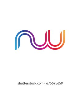Initial lowercase letter nw, linked outline rounded logo, colorful vibrant colors