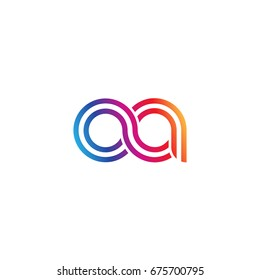 Initial lowercase letter oa, linked outline rounded logo, colorful vibrant colors