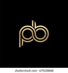 Initial lowercase letter pb, linked outline rounded logo, elegant golden color on black background