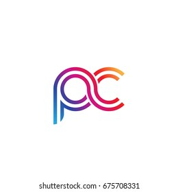 Initial lowercase letter pc, linked outline rounded logo, colorful vibrant colors