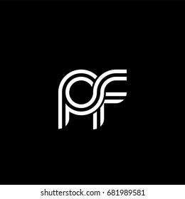 Initial lowercase letter pf, linked outline rounded logo, white color on black background