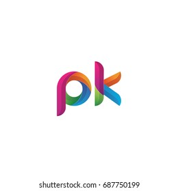 Initial lowercase letter pk, curve rounded logo, gradient vibrant colorful glossy multicolor