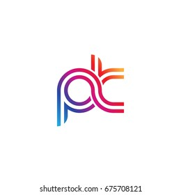 Initial lowercase letter pk, linked outline rounded logo, colorful vibrant colors