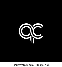 Initial lowercase letter qc, linked outline rounded logo, white color on black background