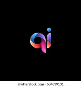 Initial lowercase letter qi, curve rounded logo, gradient vibrant colorful glossy colors on black background