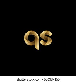 Initial lowercase letter qs, curve rounded logo, gradient glossy gold color on black background