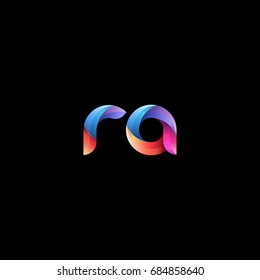 Initial lowercase letter ra, curve rounded logo, gradient vibrant colorful glossy colors on black background