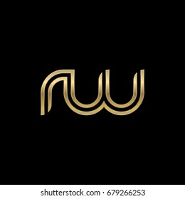 Initial lowercase letter rw, linked outline rounded logo, elegant golden color on black background