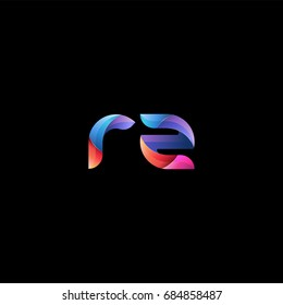 Initial lowercase letter rz, curve rounded logo, gradient vibrant colorful glossy colors on black background
