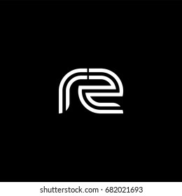 Initial lowercase letter rz, linked outline rounded logo, white color on black background