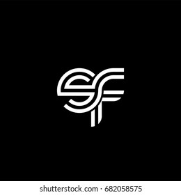 Initial lowercase letter sf, linked outline rounded logo, white color on black background