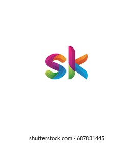 Initial lowercase letter sk, curve rounded logo, gradient vibrant colorful glossy multicolor