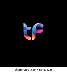 Initial lowercase letter tf, curve rounded logo, gradient vibrant colorful glossy colors on black background