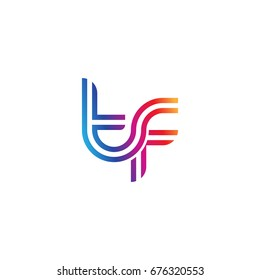 Initial lowercase letter tf, linked outline rounded logo, colorful vibrant colors