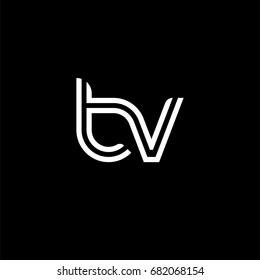 Initial lowercase letter tv, linked outline rounded logo, white color on black background