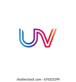 Initial lowercase letter uv, linked outline rounded logo, colorful vibrant colors