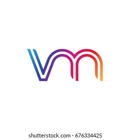 Initial lowercase letter vm, linked outline rounded logo, colorful vibrant colors
