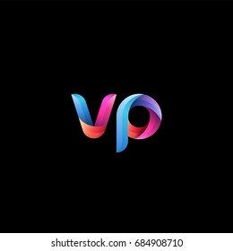 Initial lowercase letter vp, curve rounded logo, gradient vibrant colorful glossy colors on black background