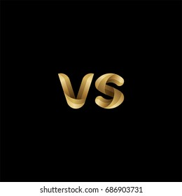 Initial lowercase letter vs, curve rounded logo, gradient glossy gold color on black background