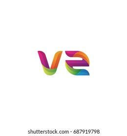 Initial lowercase letter vz, curve rounded logo, gradient vibrant colorful glossy multicolor