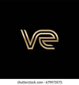 Initial lowercase letter vz, linked outline rounded logo, elegant golden color on black background