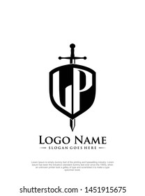 initial LP letter with shield style logo template vector