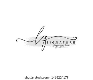 Initial LQ beauty monogram and elegant logo design, handwriting logo of initial signature, wedding, fashion, floral and botanical with creative template.